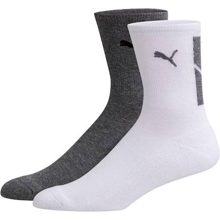 Men's Low Crew Socks [2 Pack], GREY / BLACK, small